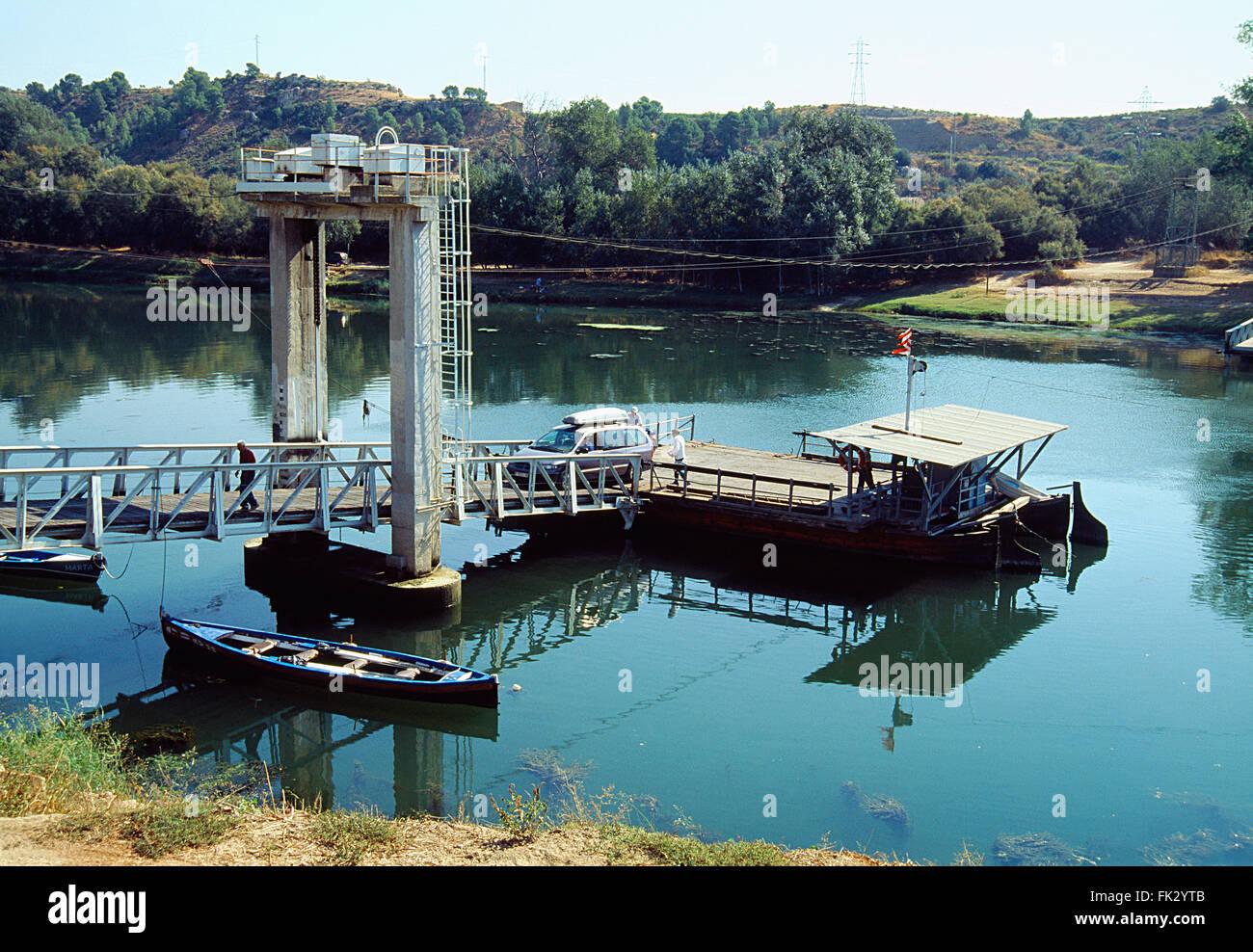 Car ferry over river Ebro  Flix, Tarragona province