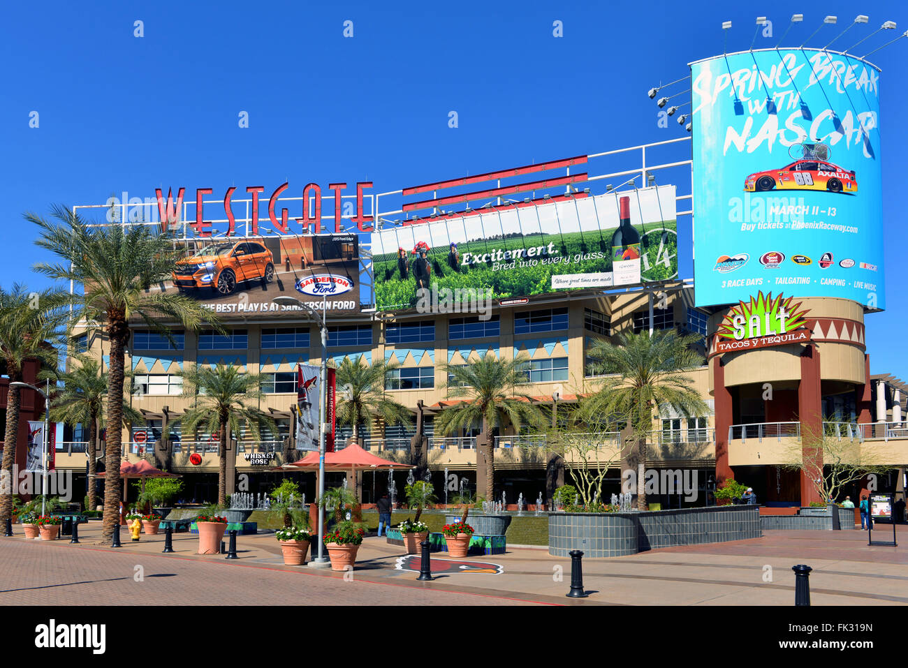 Glendale, AZ, USA - February 25, 2016:  A portion of the central court of the Westgate Entertainment District - Stock Image