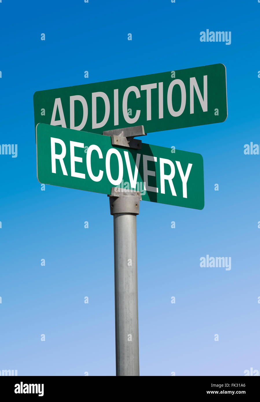 green street sign addiction and recovery - Stock Image