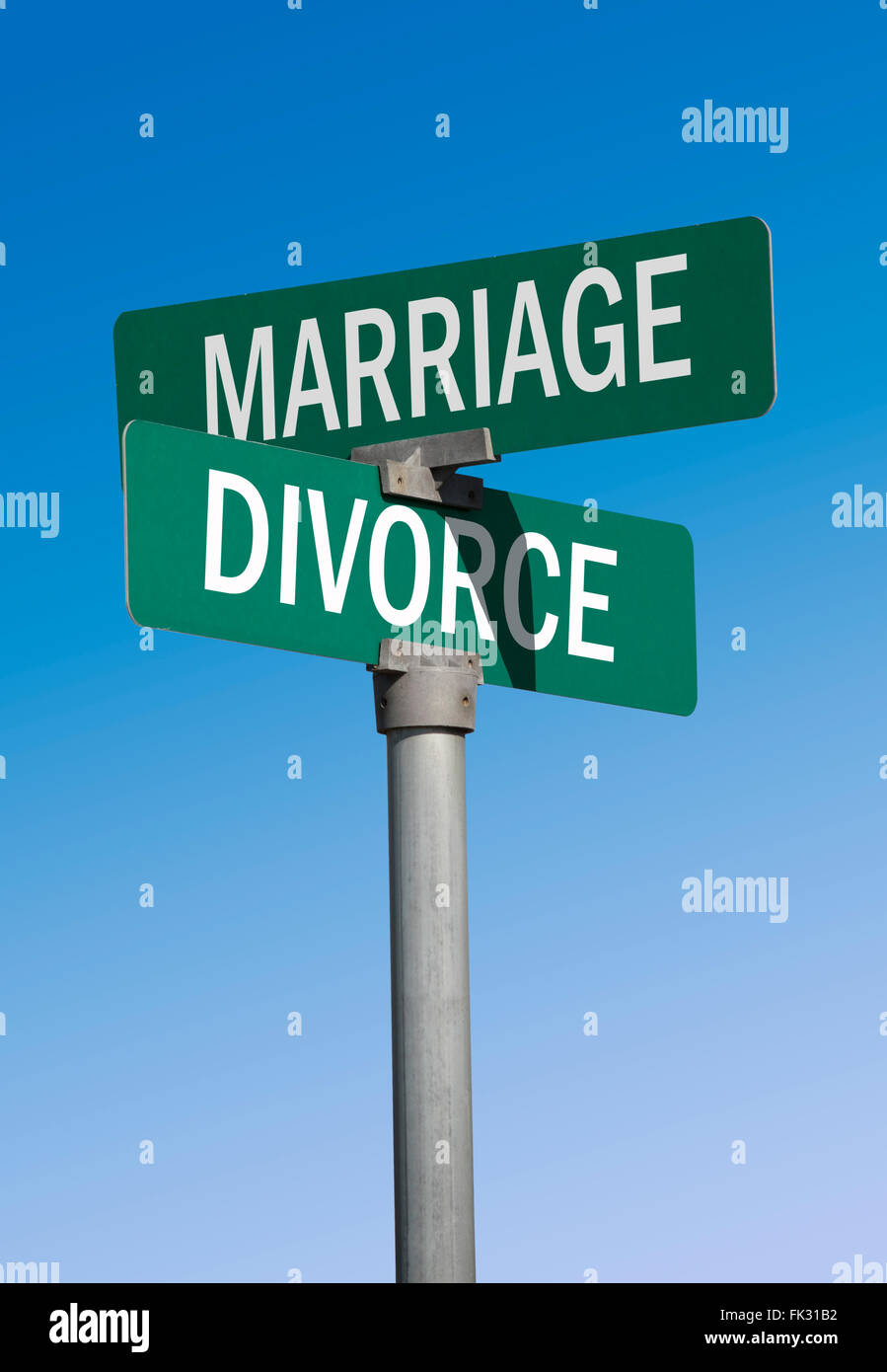 green street sign marriage and divorce - Stock Image