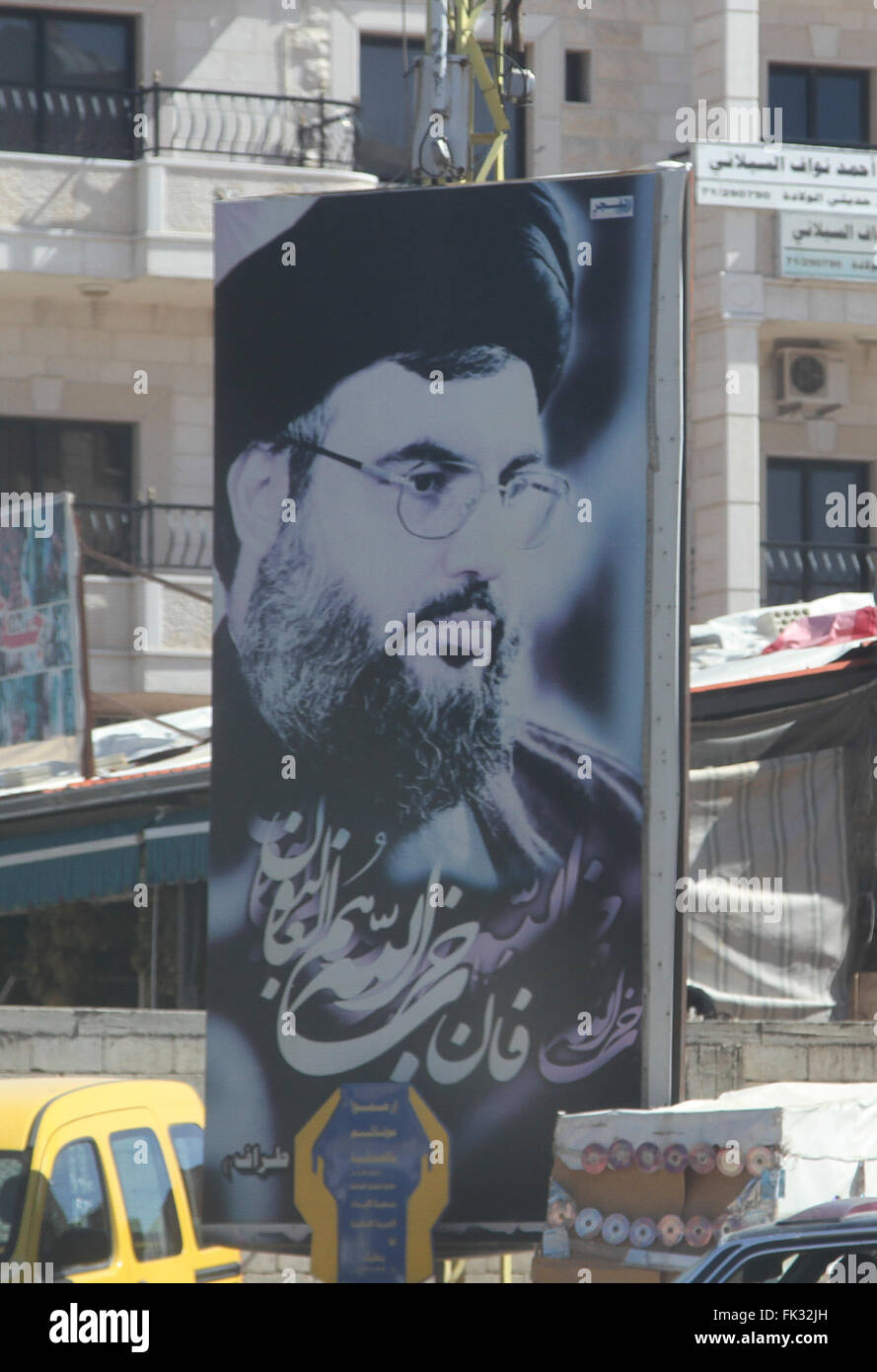 Beirut, Lebanon. 6th March, 2016. Picture of  Hassan Nasrallah spiritual leader of Hezbollah. The Gulf Cooperation - Stock Image