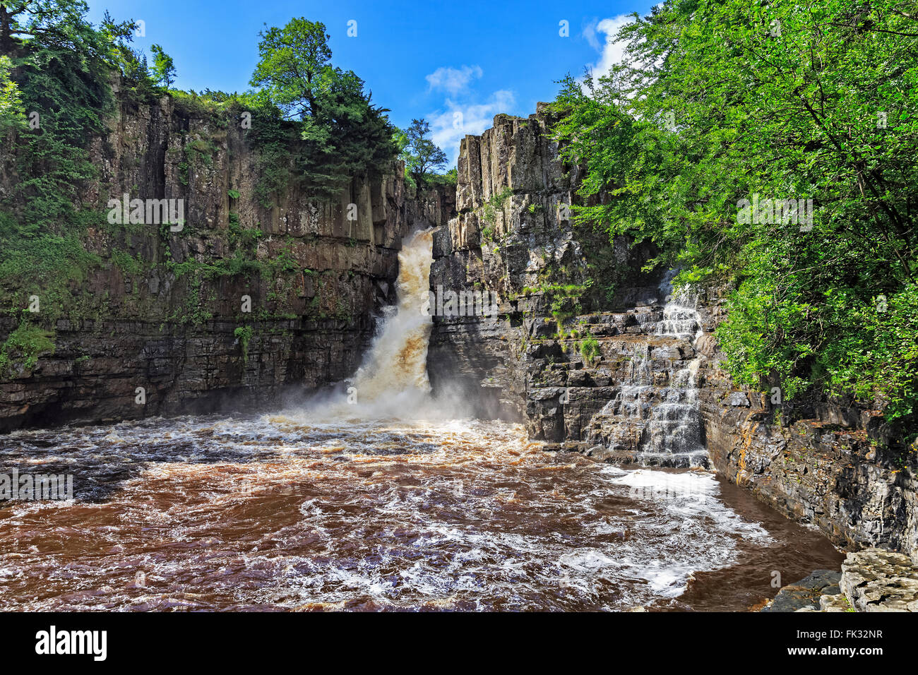 High Force falls, River Tees, Teesdale, Durham, England, United Kingdom - Stock Image