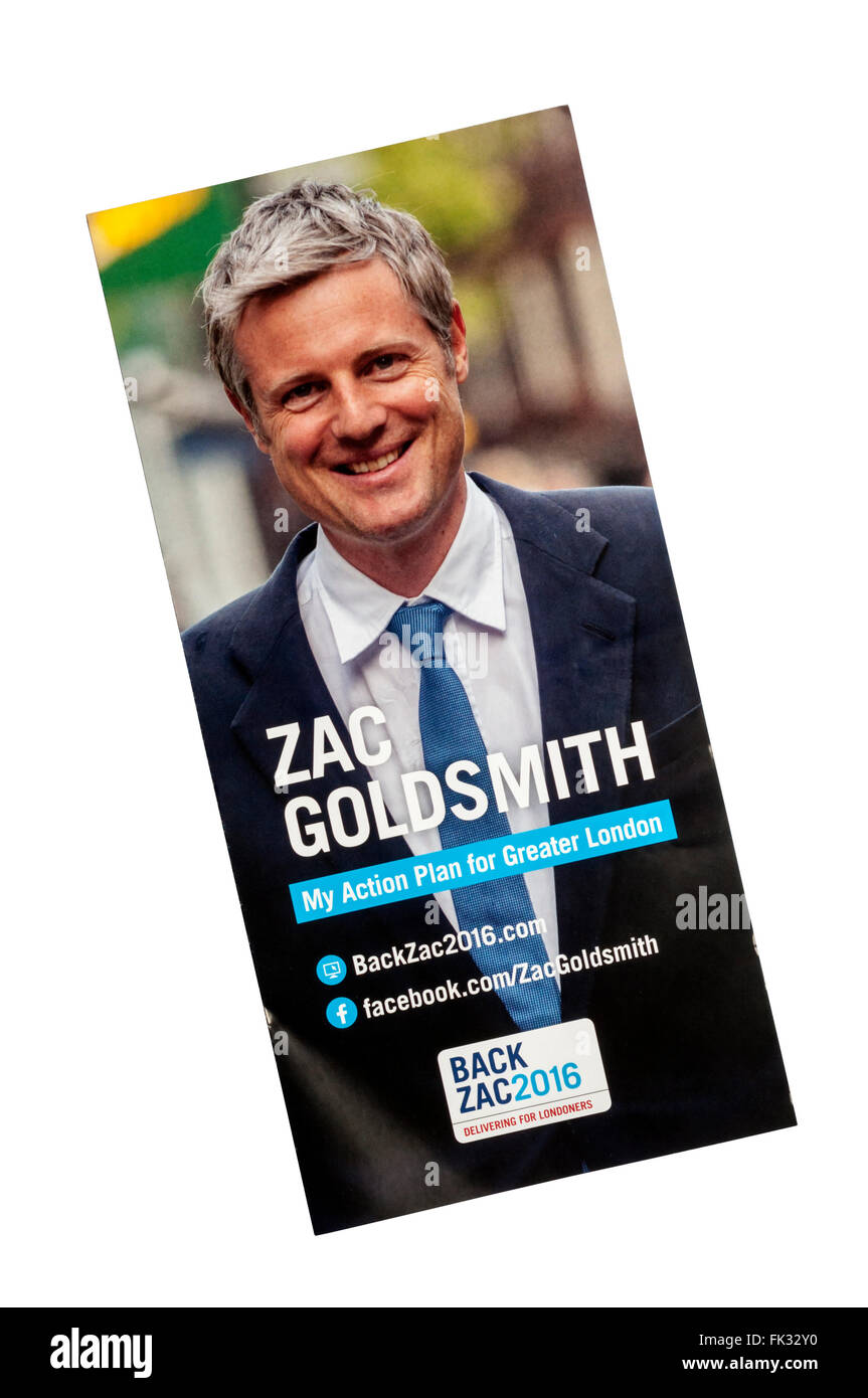 ConservativeParty leaflet for London Assembly election in 2016, promoting Zac Goldsmith for Mayor. - Stock Image