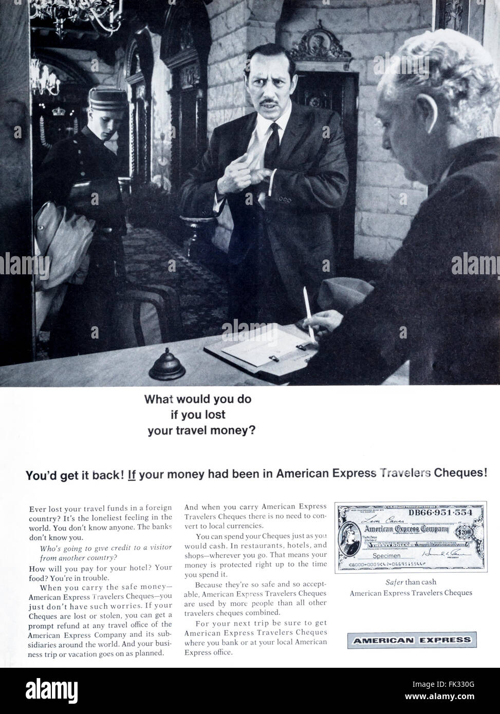 1960s magazine advertisement advertising American Express Travellers Cheques or Travelers Checks. - Stock Image