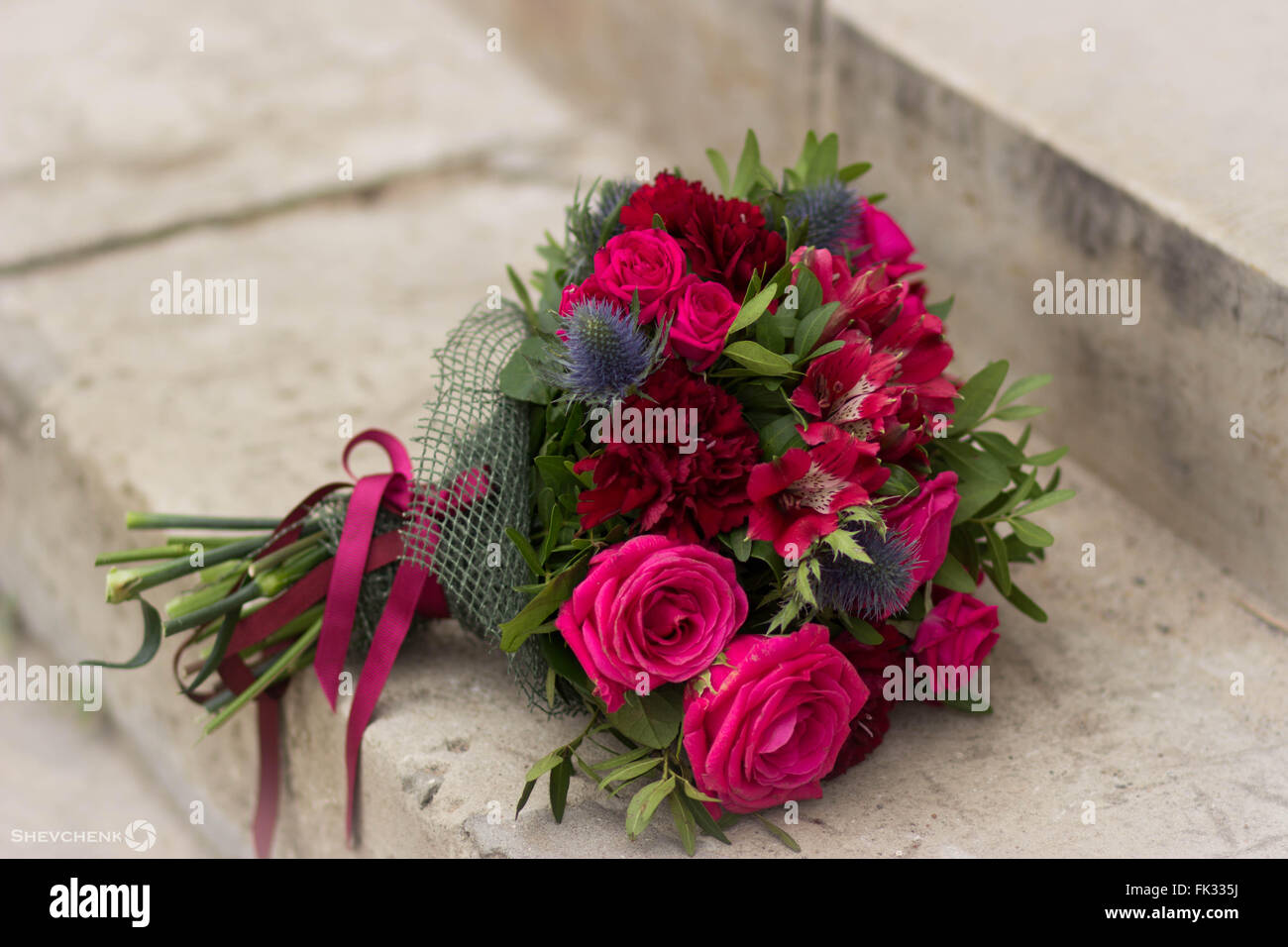 Pale dusty pink flowers stock photos pale dusty pink flowers stock bouquet of pink flowers on stone stairs stock image mightylinksfo