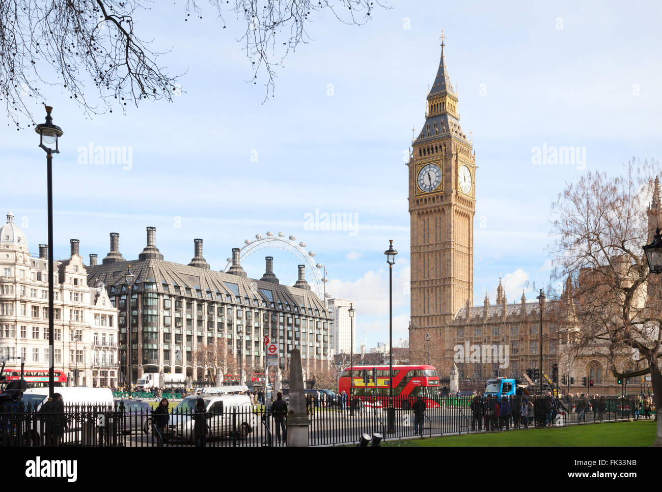 The Houses of Parliament and Big Ben seen from Parliament Square, London UK - Stock Image