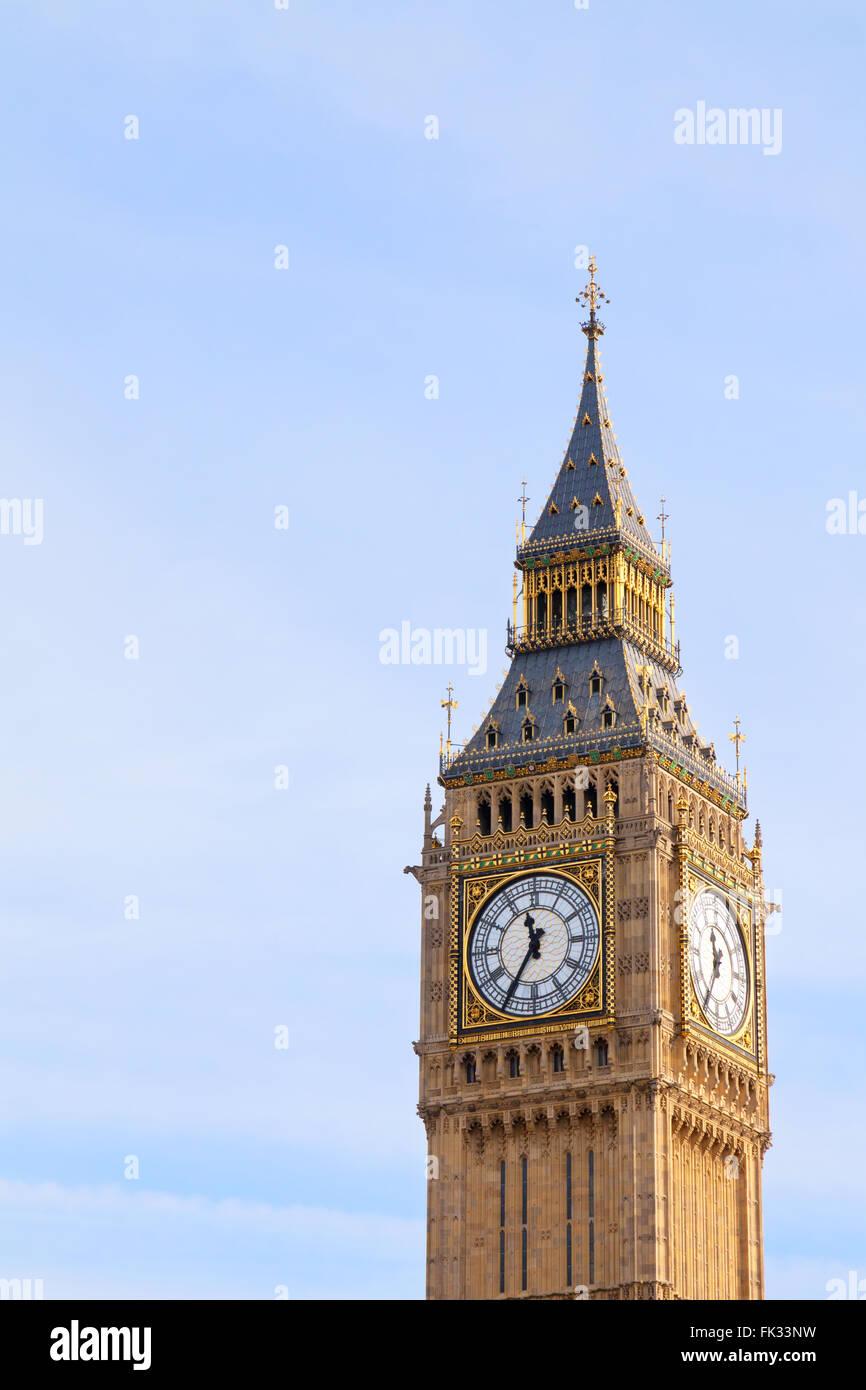 Big Ben clock tower and blue sky, London UK - Stock Image