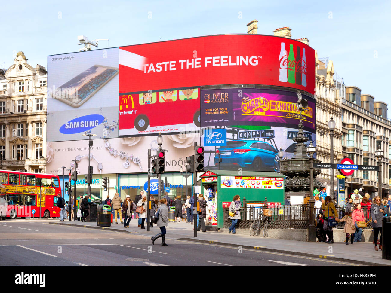 Piccadilly Circus - General view, Piccadilly Circus, London city centre, UK - Stock Image