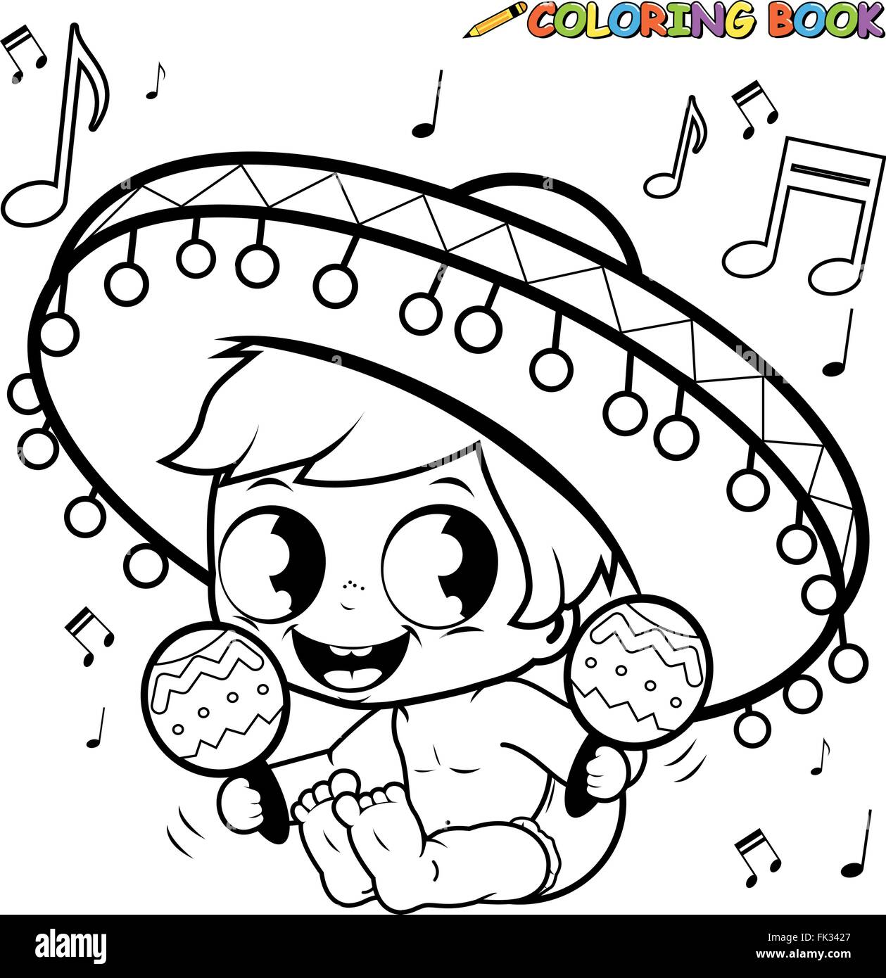 Mariachi baby boy playing the maracas coloring page Stock Vector ...