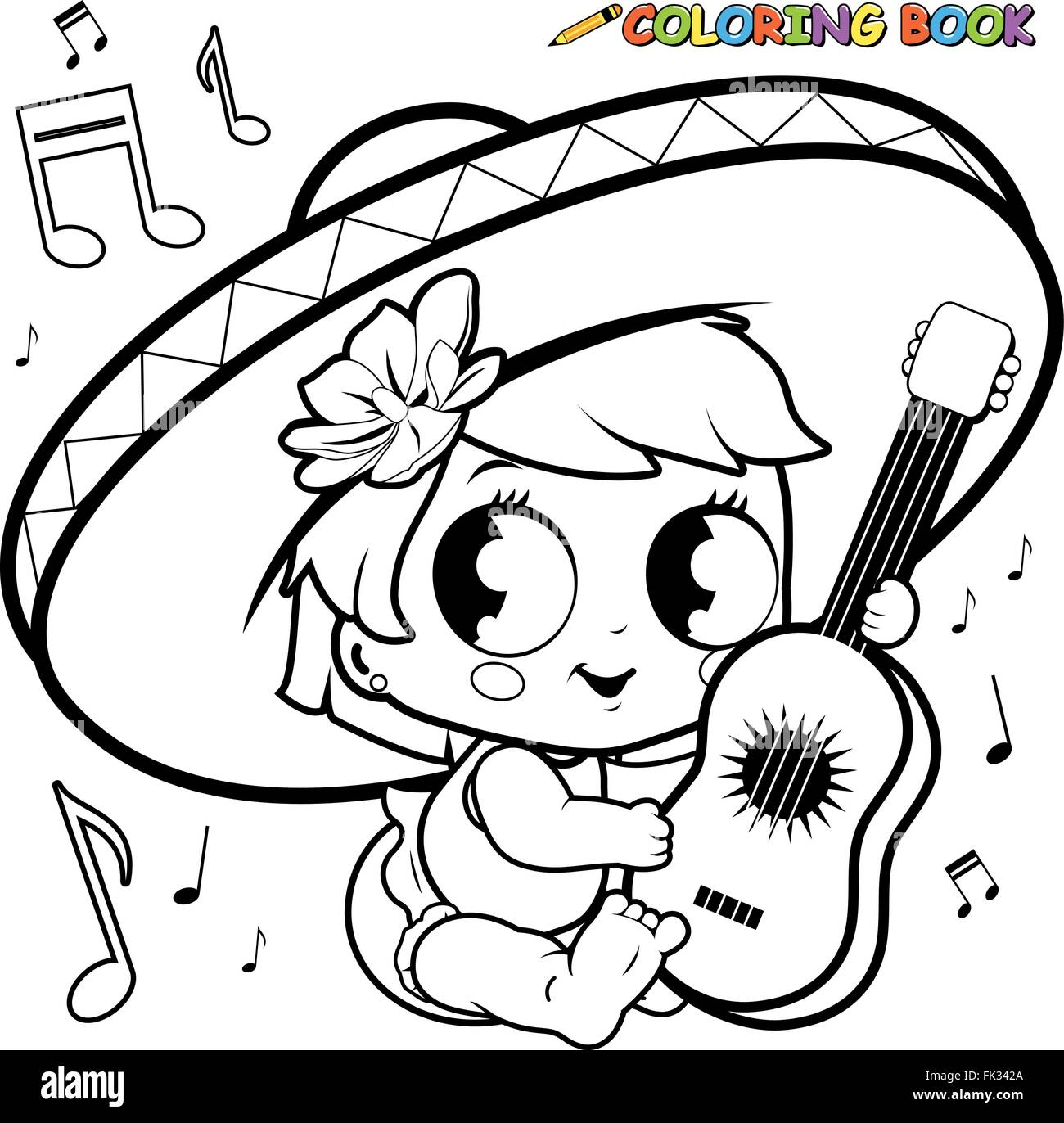Mariachi baby girl playing the guitar coloring page Stock Vector Art ...