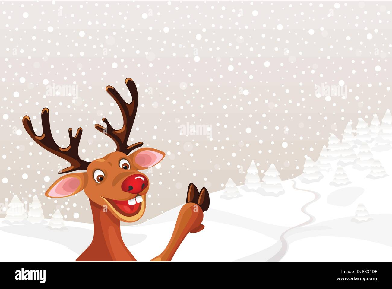 Reindeer with copy space on Christmas landscape - Stock Image