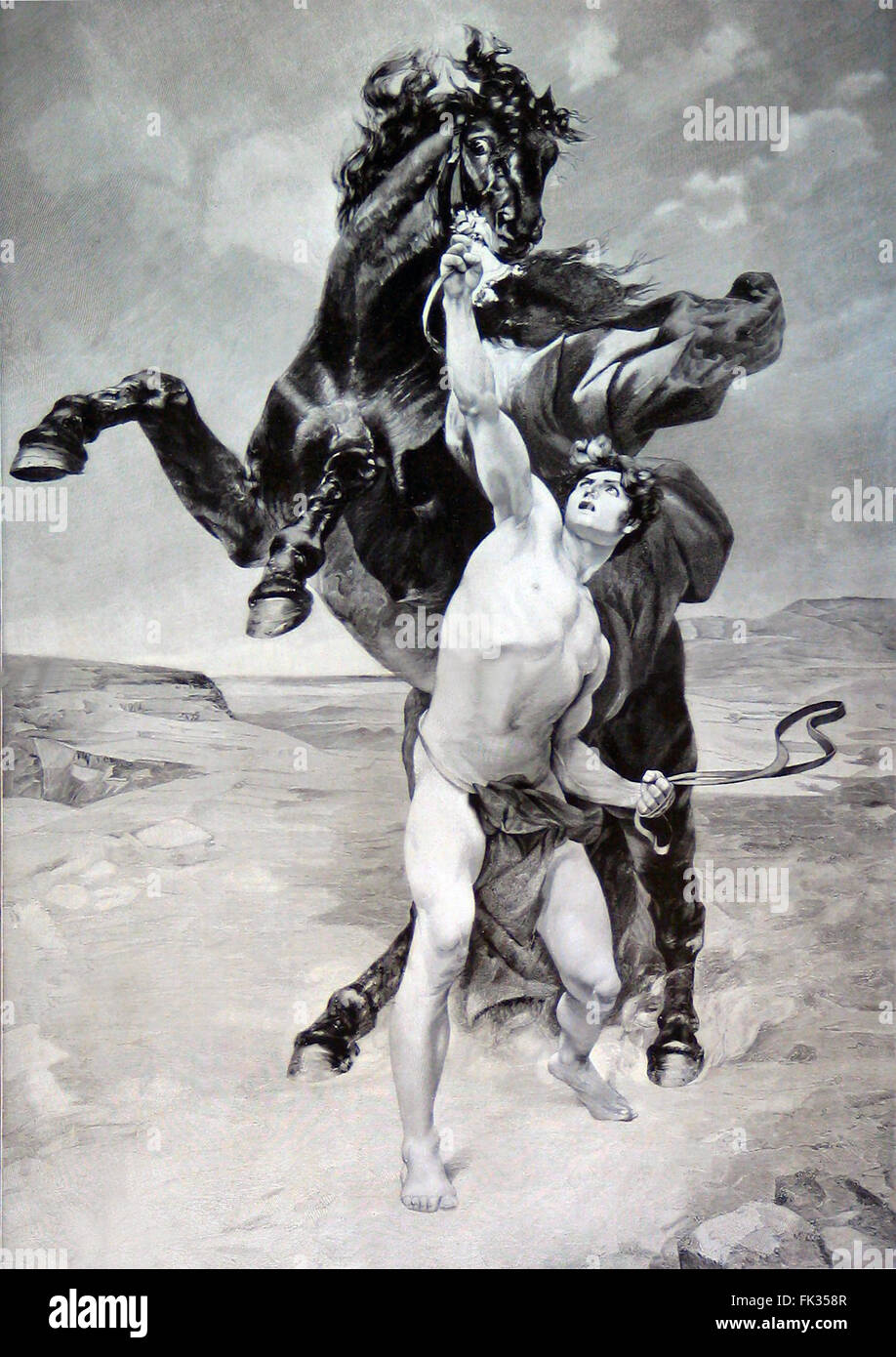 Engraving of Alexander the Great taming the horse Bucephalus from a drawing by F. Schommer in the late 19th century. - Stock Image