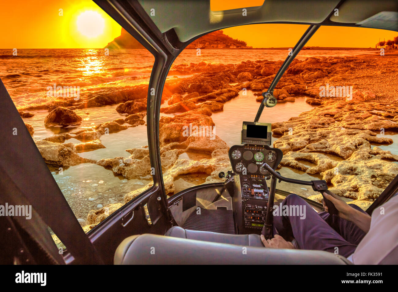Helicopter Cockpit on reef - Stock Image