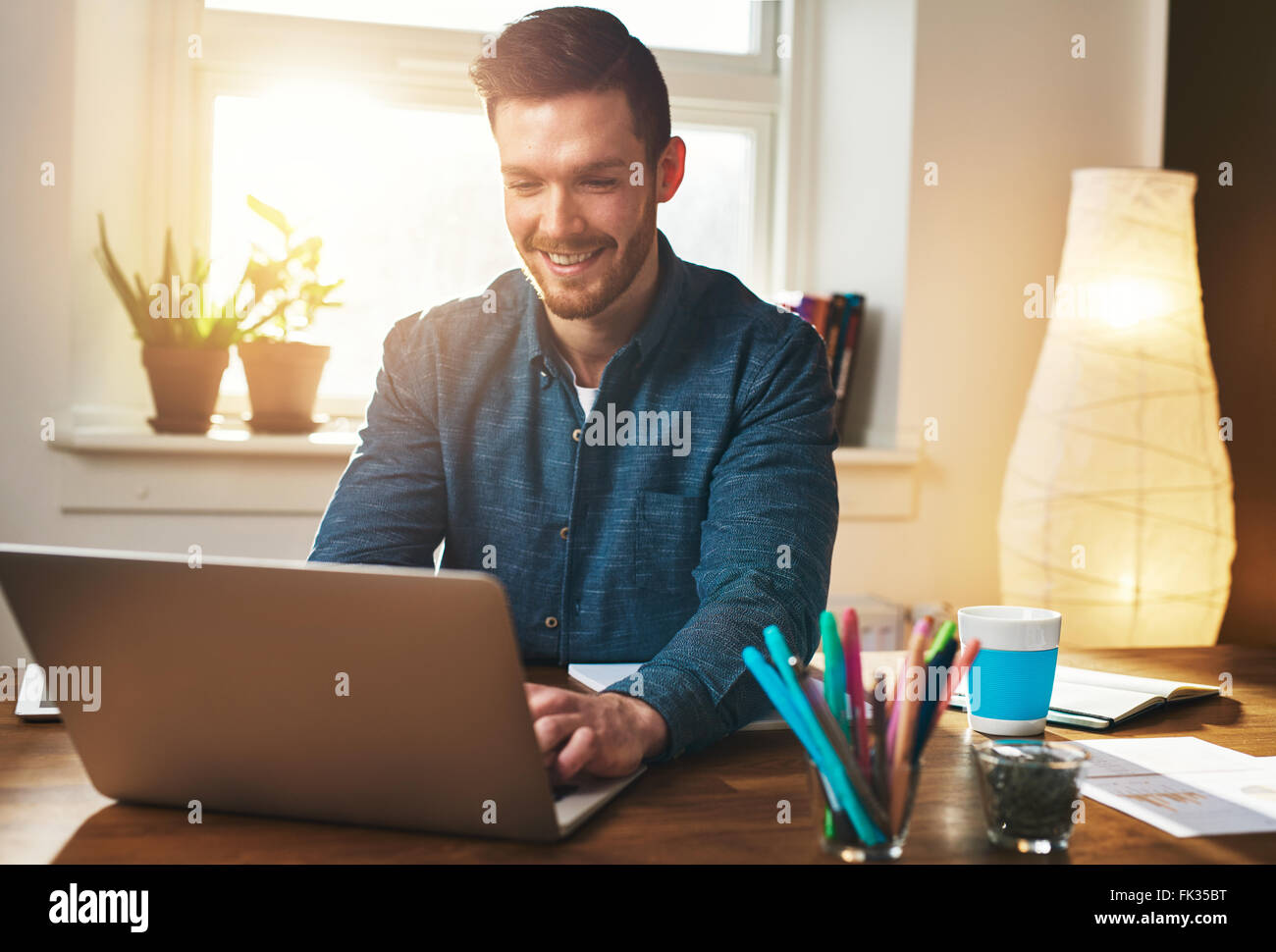 Successful entrepreneur smiling in satisfaction as he checks information on his laptop computer while working in - Stock Image