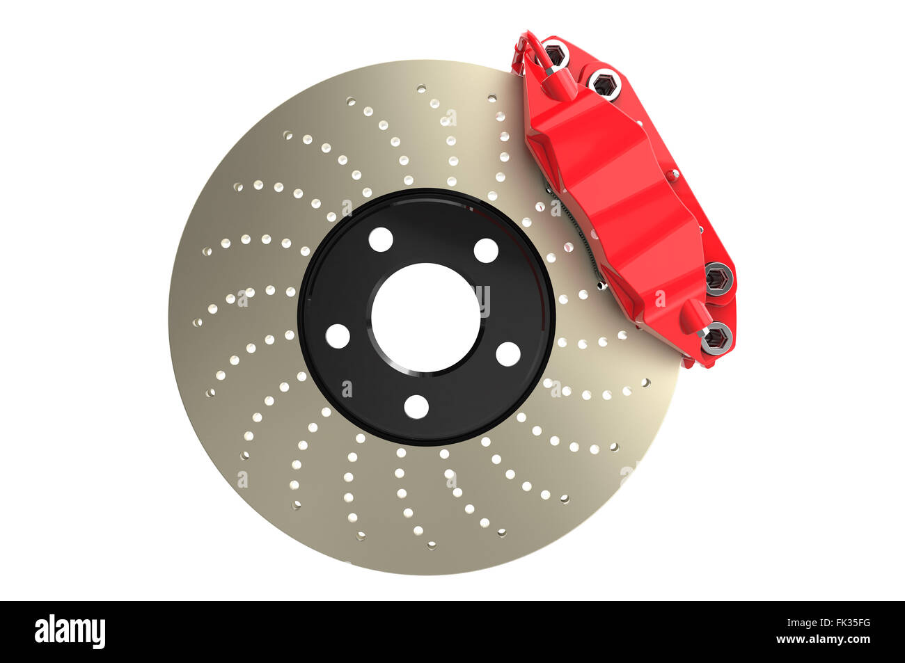 Brake disc and red caliper from a racing car isolated on white background - Stock Image