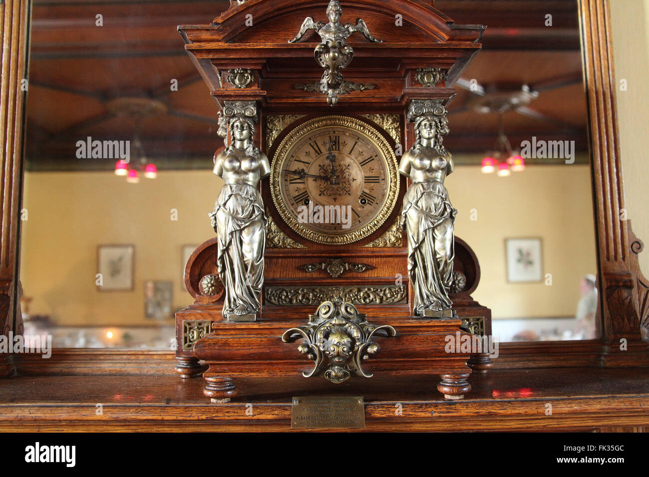 Antique Art Nouveau Clock In The Dining Room Of Lord Milner Hotel At Matjiesfontein South Africa