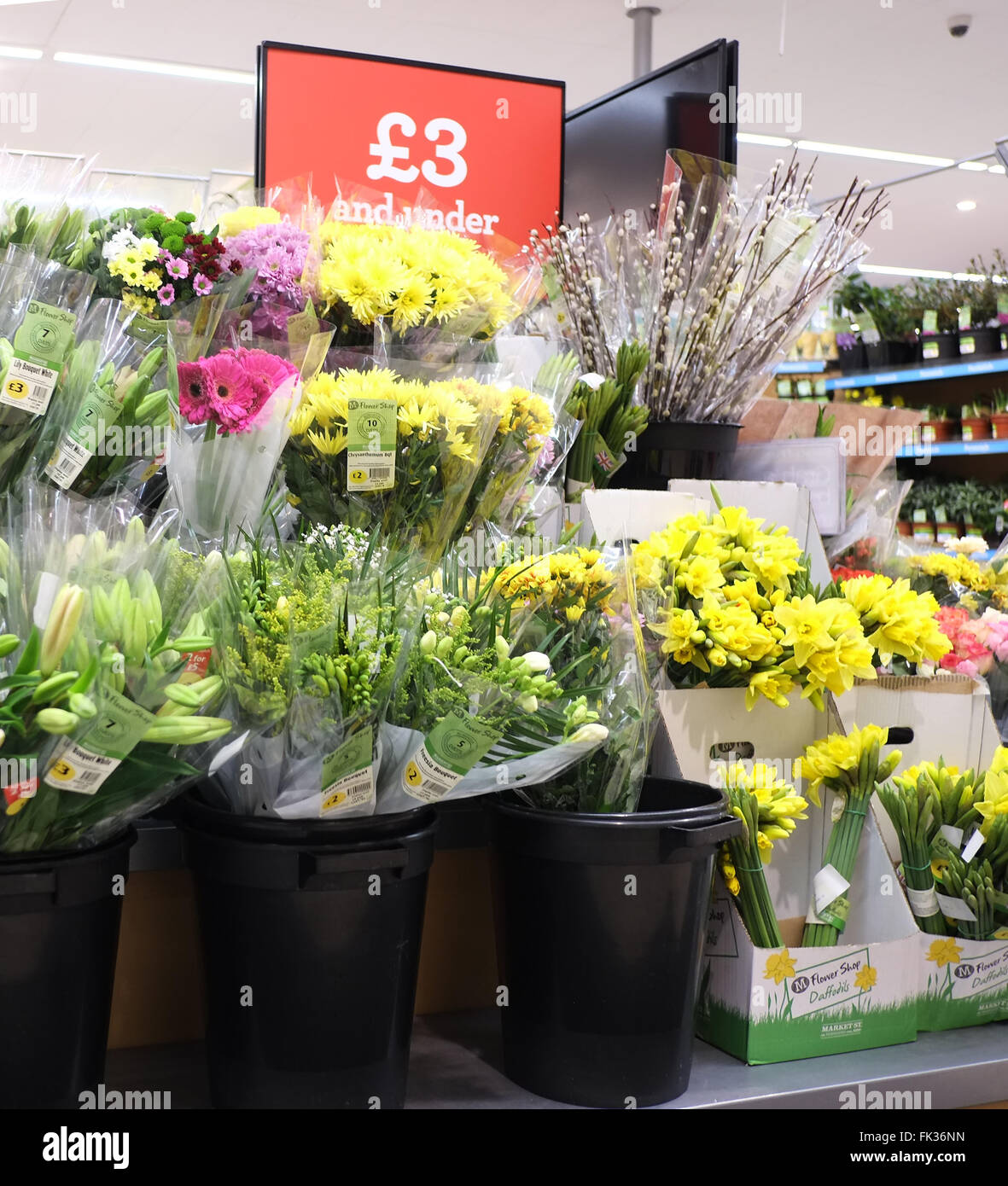 Display Of Cheap Flowers In A Morrisons Supermarket In Britain 18th