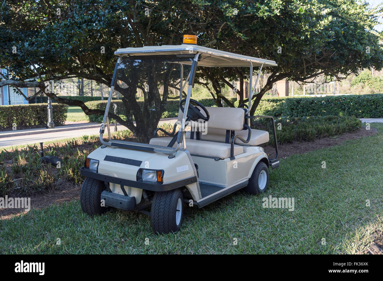 Empty Golf Buggy parked on the grass - Stock Image