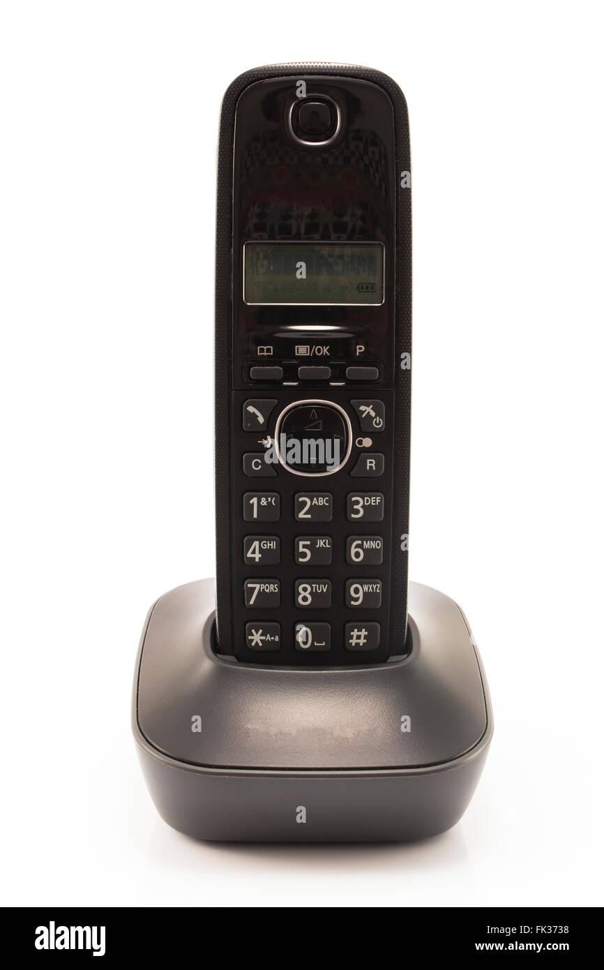 Landline phone isolated on white. - Stock Image