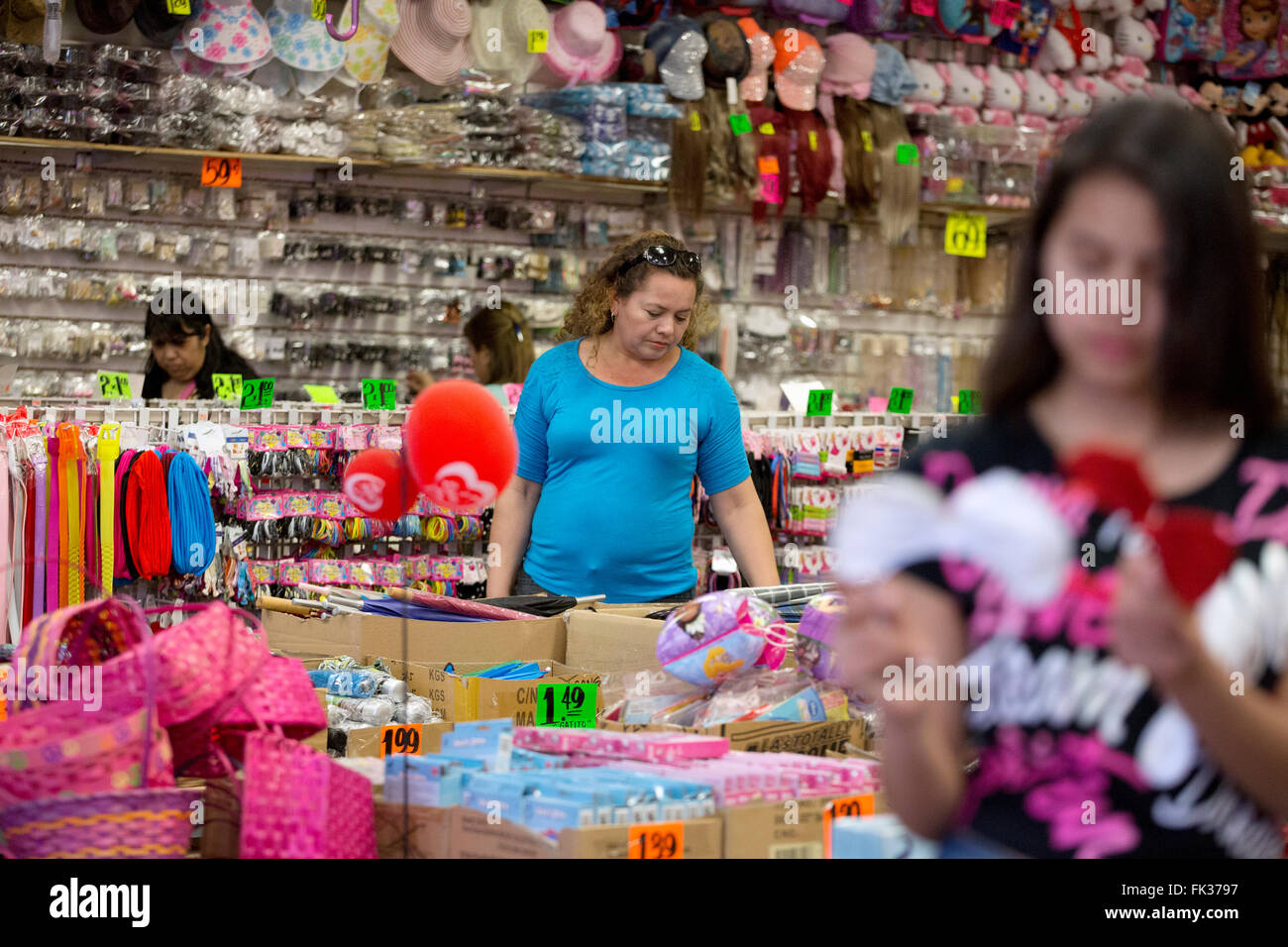 People shopping in a discount store in Calexico, California on the border with Mexico - Stock Image