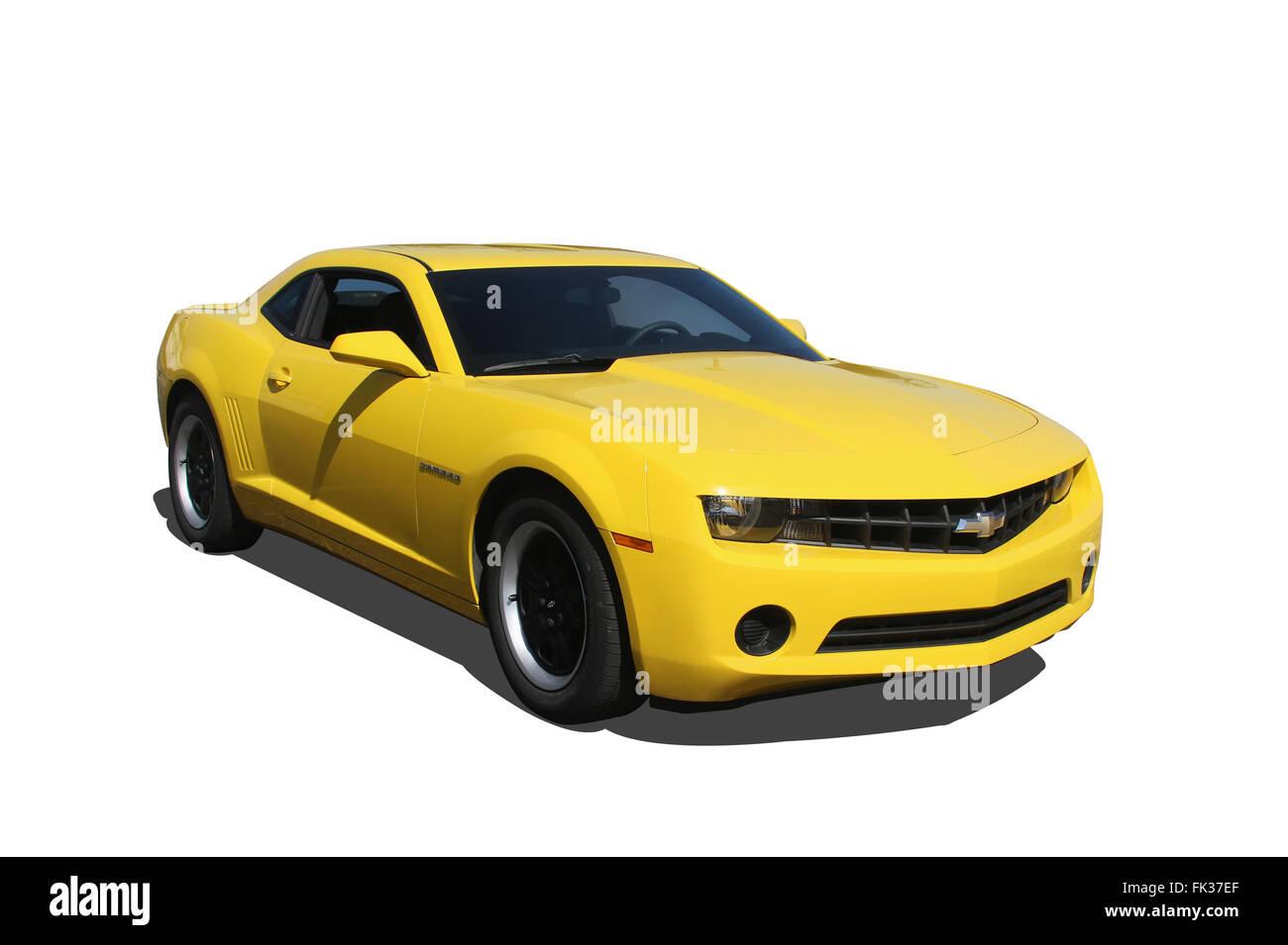 Auto- 2012 Chevrolet Camaro. Yellow. Dayton, Ohio, USA. - Stock Image