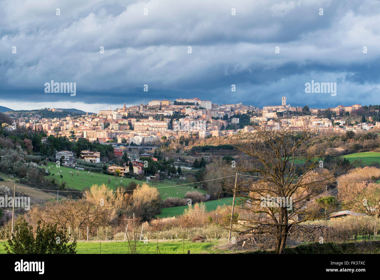 Perugia, Umbria. Green heart of Italy. A panoramic view of the city with its beautiful and lush green countryside Stock Photo