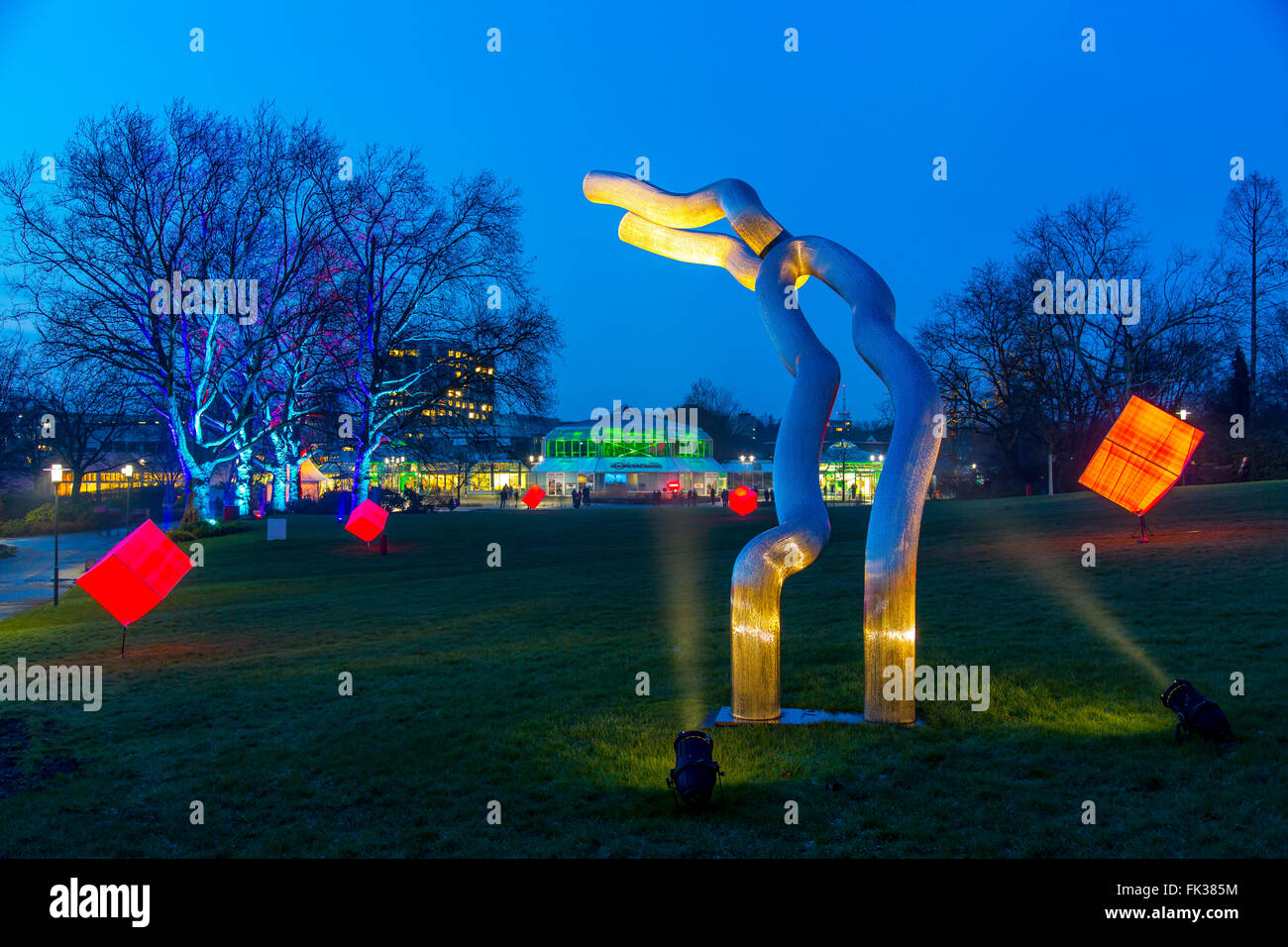 Park Leuchten, Park Illumination, in the Gruga Park, a public park in Essen, Germany, annual light show in the park - Stock Image
