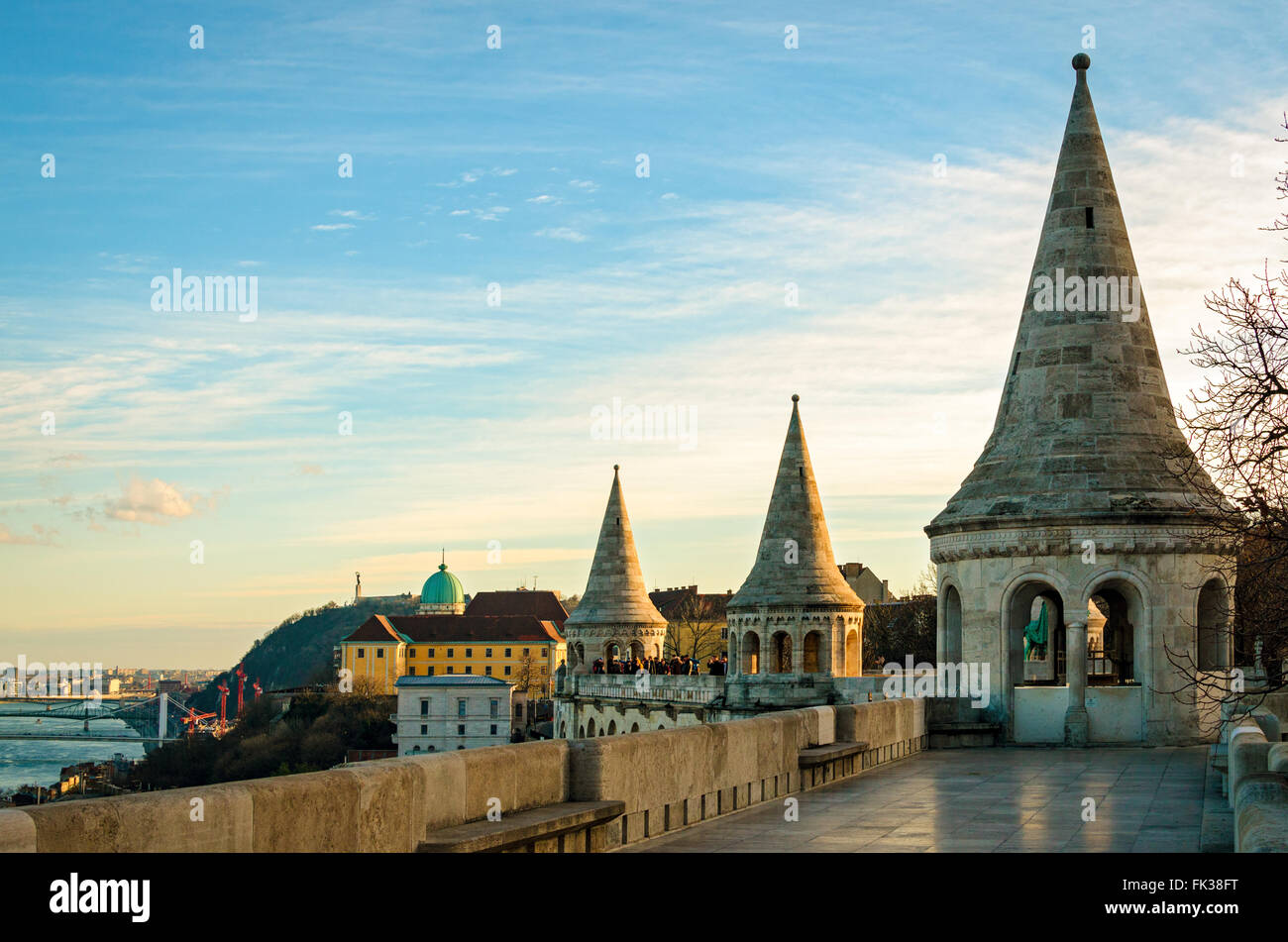 Budapest panorama from Fisherman's Bastion at sunset - Stock Image