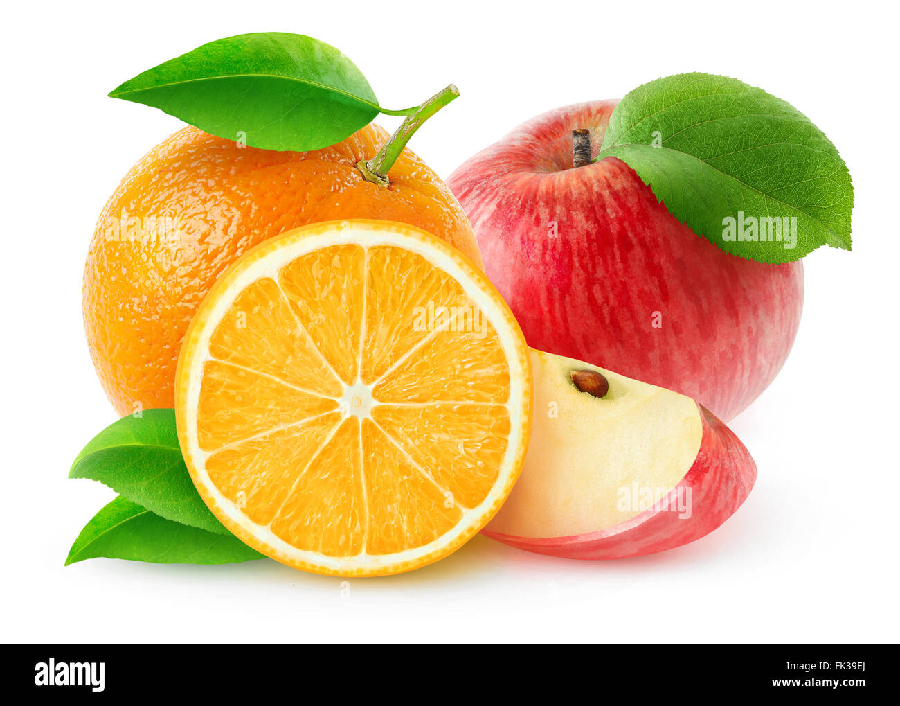 Apples and oranges isolated on white, with clipping path - Stock Image