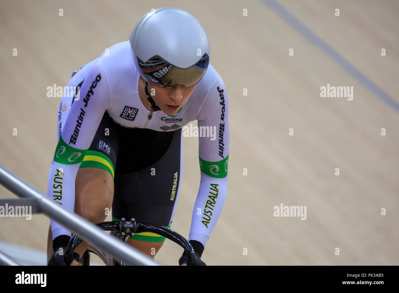London, UK, 6 March 2016. UCI 2016 Track Cycling World Championships. Australia's Annette Edmondson competes - Stock Image