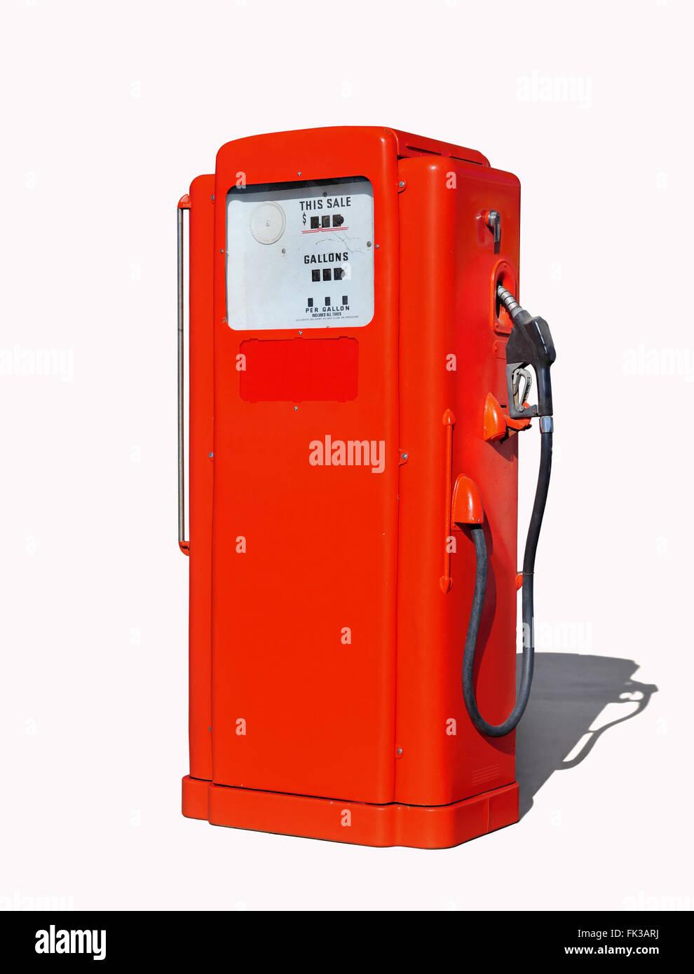Vintage (retro) red gasoline pump - Stock Image