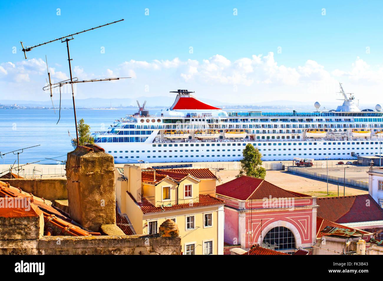 Huge cruise liner moored in Lisbon, Portugal - Stock Image