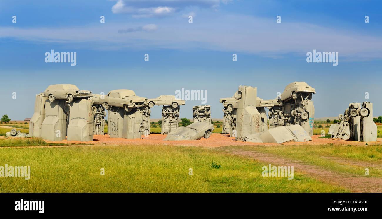 ALLIANCE, Nebraska,USA. Carhenge, famous car sculpture recreating the Stonehenge in England - Stock Image