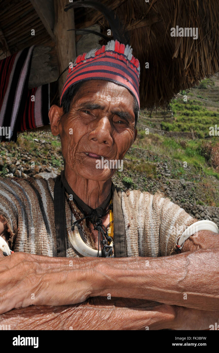 Indigenous senior citizen of the mountains in Southeast Asia. - Stock Image