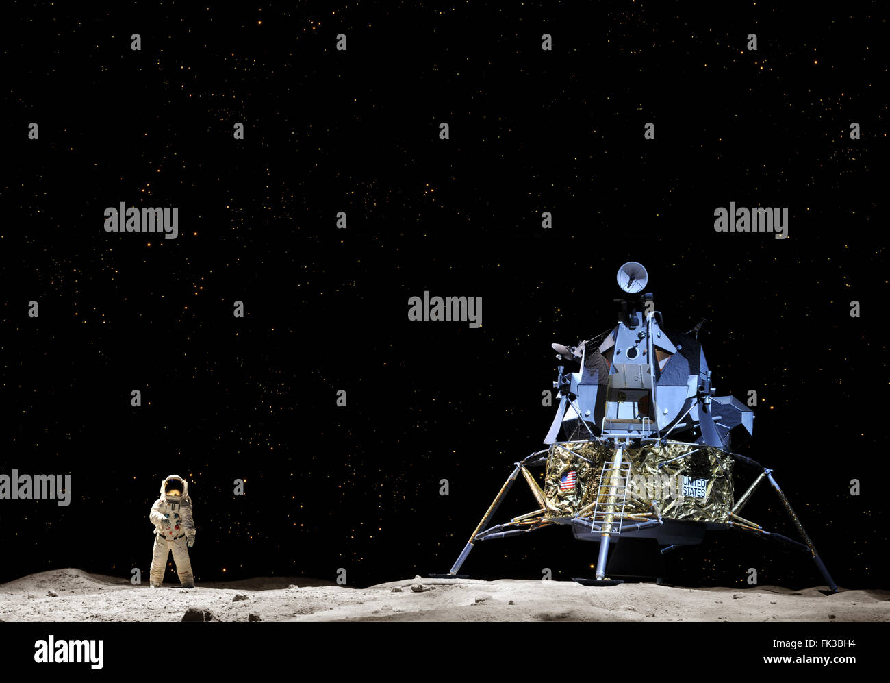 CAPE CANAVERAL, FL- JAN 2: Prototype of the Apollo 17 landing on the moon displayed at NASA, Kennedy Space Center - Stock Image