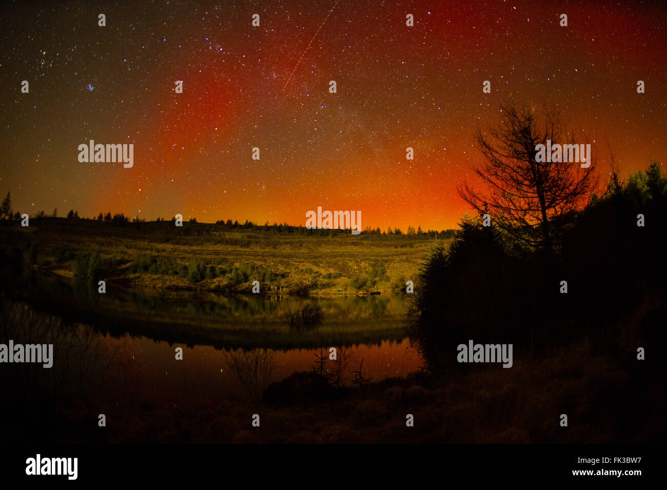 Nant yr Arian, Ceredigion, Wales UK, Sunday 06 March 2016 The spectacular sight of the Aurora Borealis - Northern - Stock Image