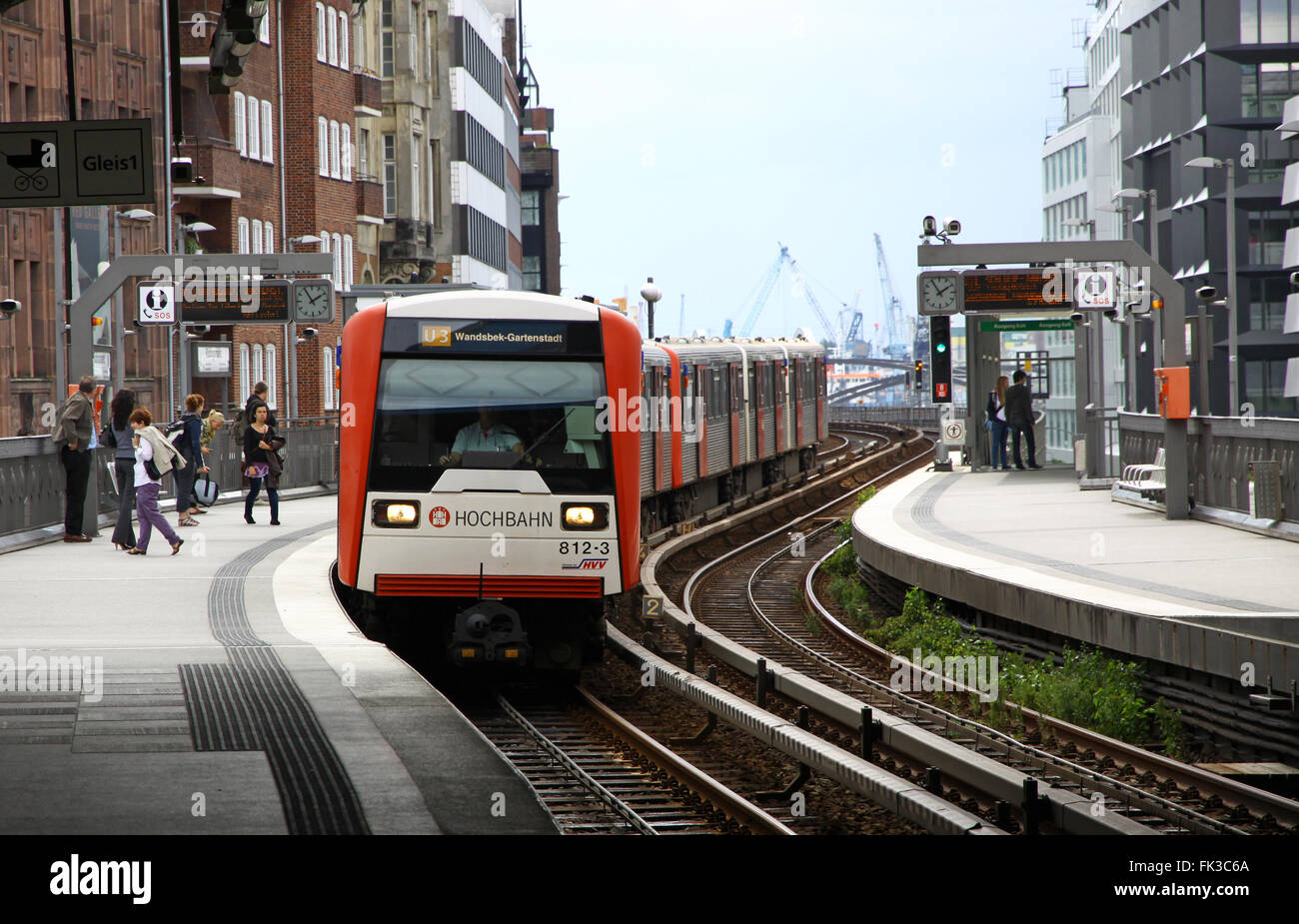Train arrives at Baumwall U-Bahn Station on July 30, 2012 in Hamburg, Germany Stock Photo