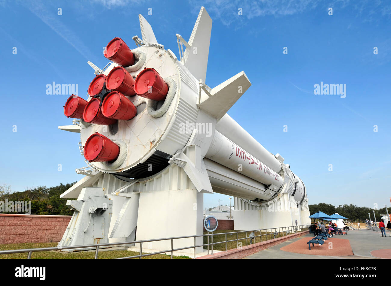 CAPE CANAVERAL, FL - JAN 2: Display of rockets at the Rocket Garden at Kennedy Space Center featuring 8 authentic - Stock Image