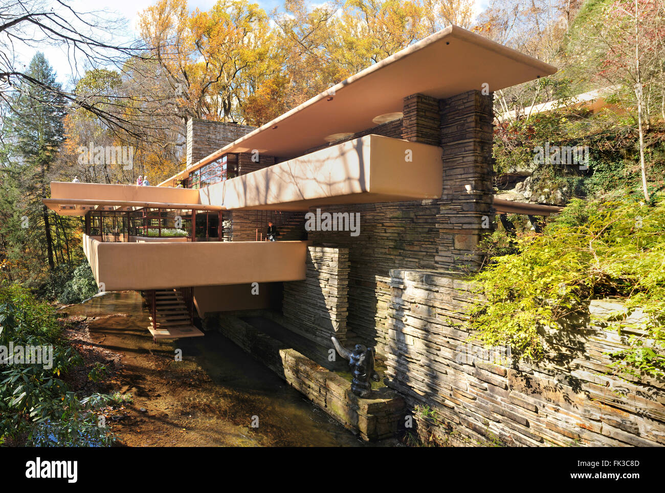 Mill Run, Pennsylvania, USA, Oct. 25: The Fallingwater, designed by Architect Frank Lloyd Wright in Mill Run, PA - Stock Image