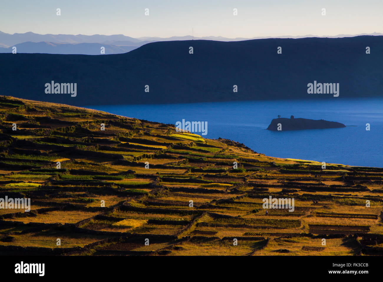 Farm fields, Amantani Island, Lake Titikaka, Peru Stock Photo