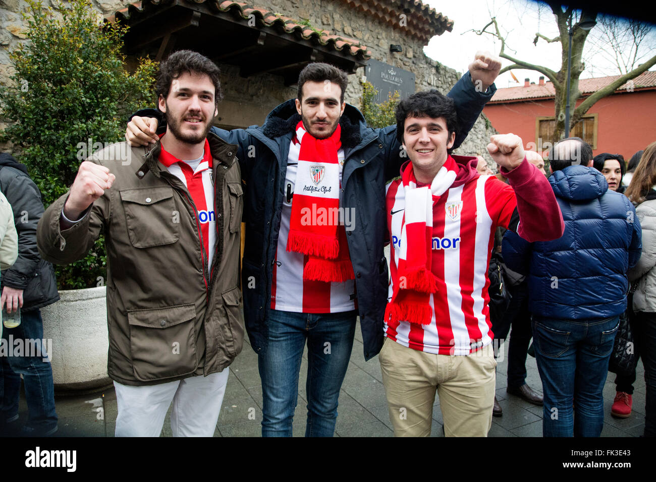 Gijon, Spain. 6th March, 2016. Supporters of Athletic Club after the football match of Spanish 'La Liga' between - Stock Image