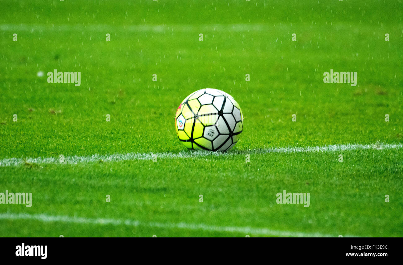 Gijon, Spain. 6th March, 2016. The ball during the football match of Spanish 'La Liga' between Real Sporting de - Stock Image