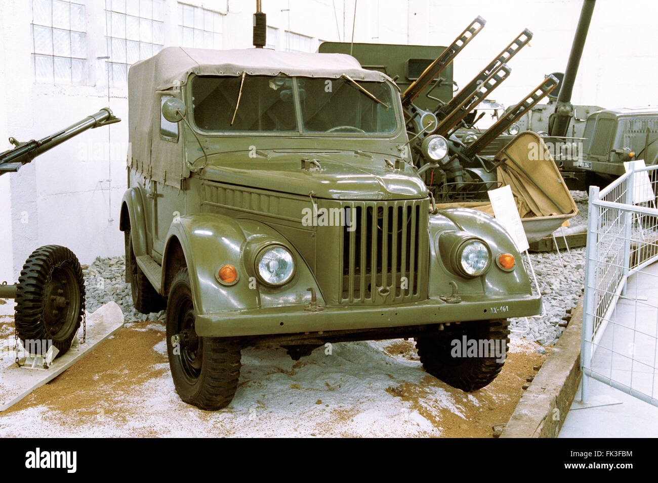 Soviet light truck GAZ-69 produced by the GAZ automobile plant (1957) displayed in the Military Technical Museum - Stock Image