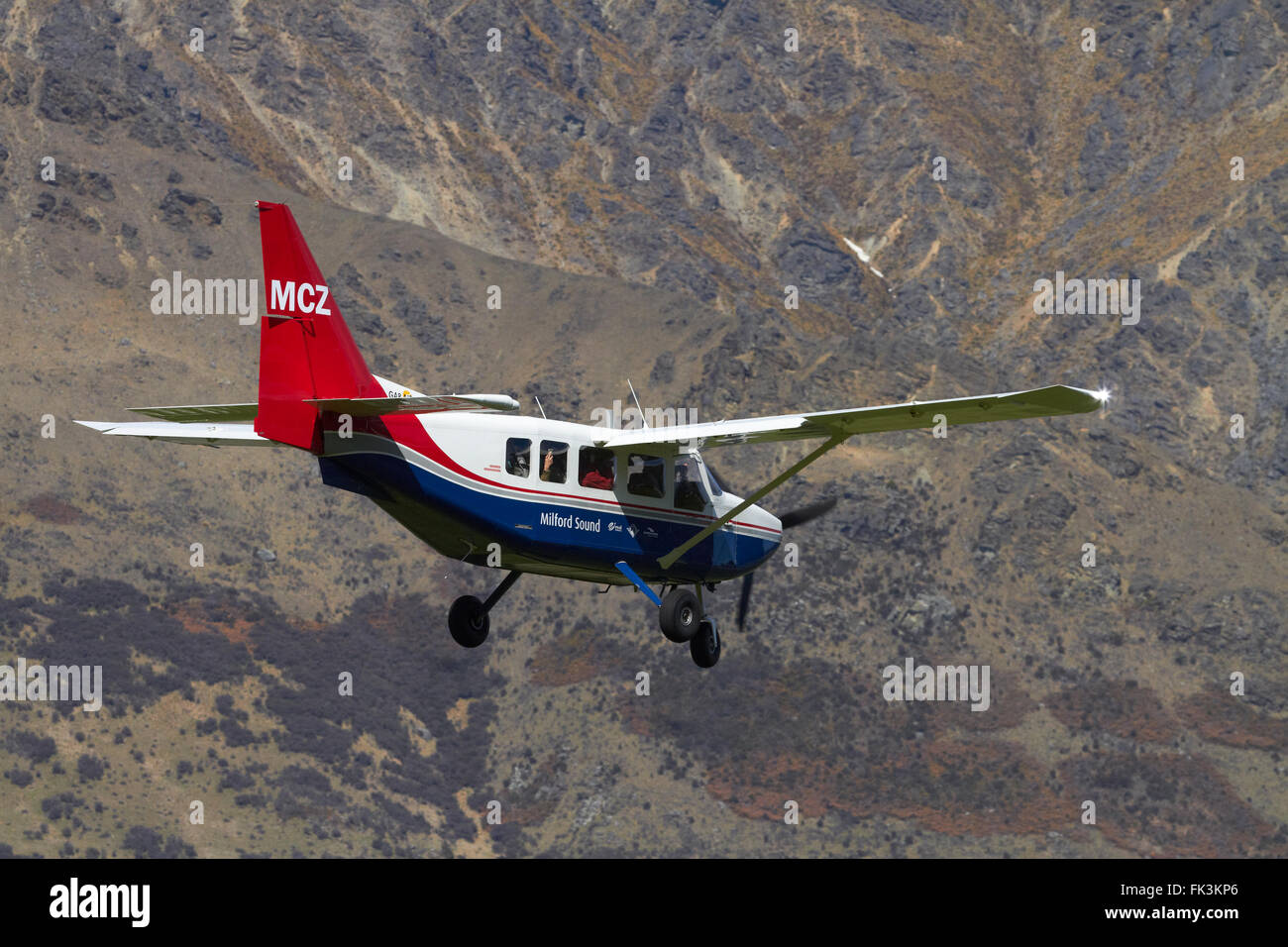 Milford Sound Flights Gippsland GA8 plane landing at Queenstown Airport, Otago, South Island, New Zealand - Stock Image