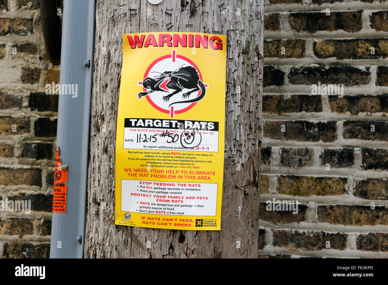 Rat poison bait control notice. Chicago, Illinois. - Stock Image