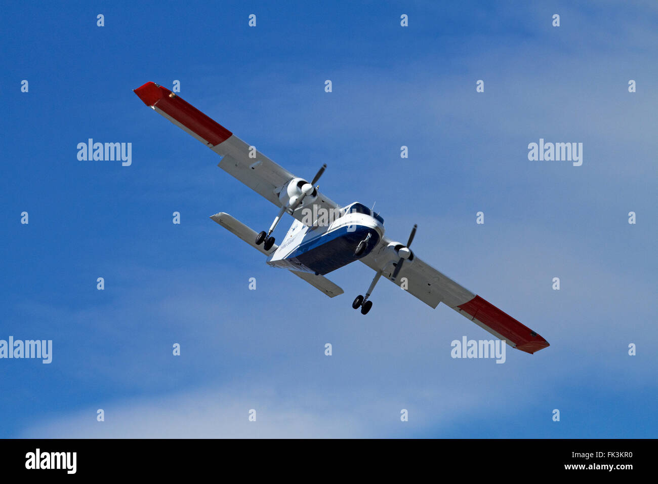 Light tourist plane landing at Queenstown Airport, Otago, South Island, New Zealand - Stock Image