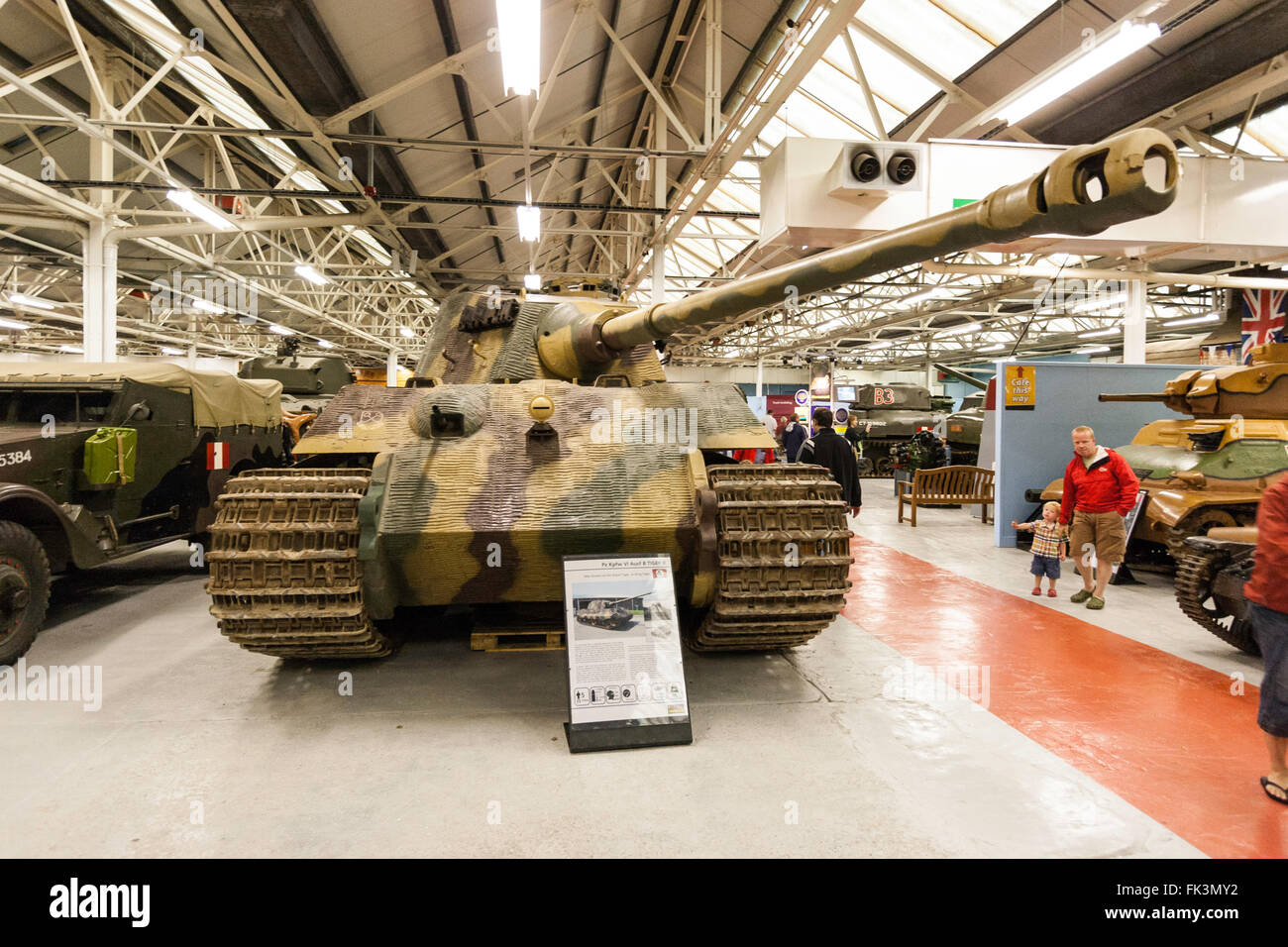 Bovington tank museum interior display, German Tiger II, King Tiger, tank from world war two, museum hall, other - Stock Image