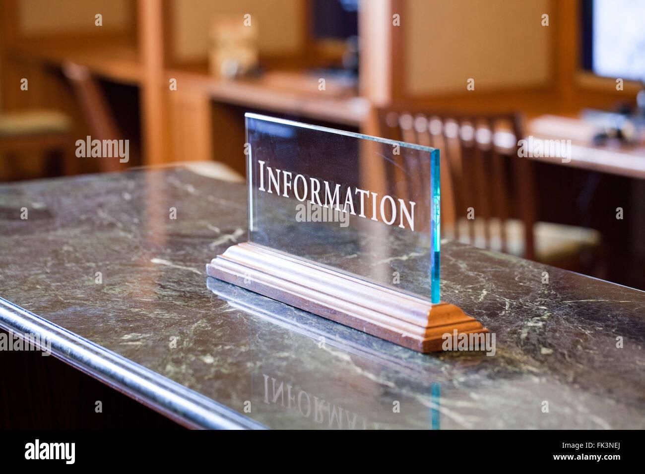 Information desk plate - USA Stock Photo