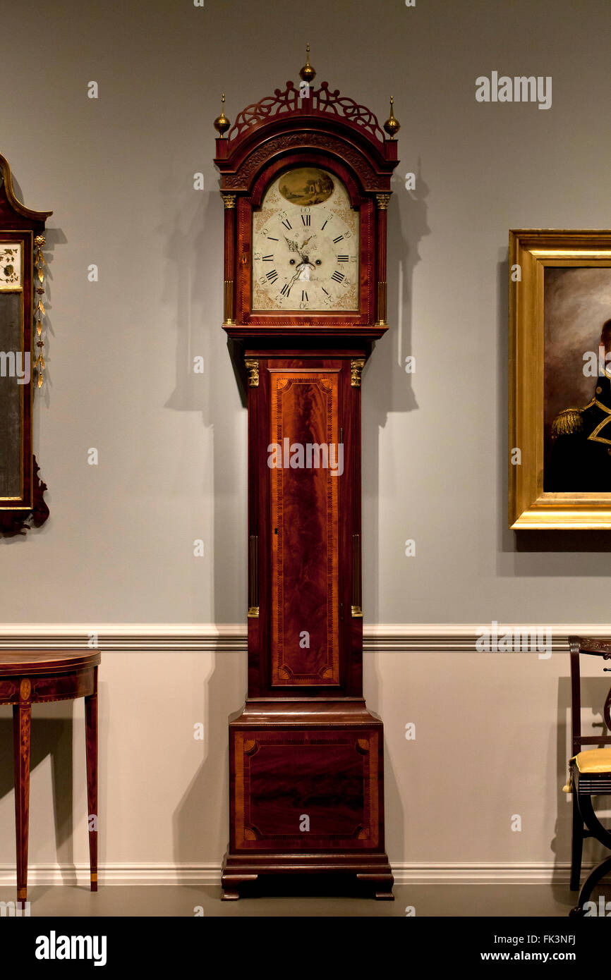 Antique mahogany long-case clock, circa 18th century - Stock Image