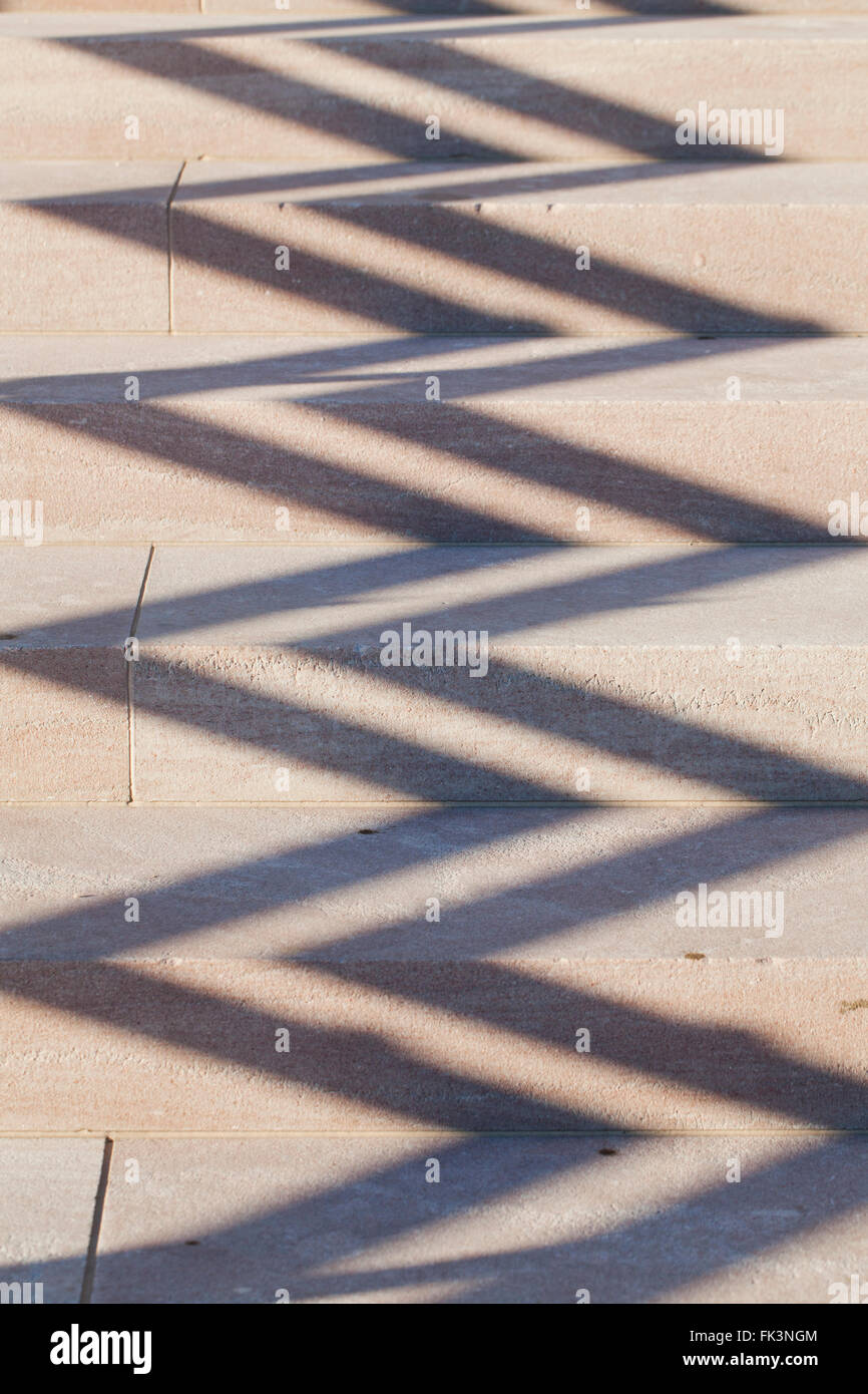 Shadow forming zigzag pattern on steps - USA Stock Photo